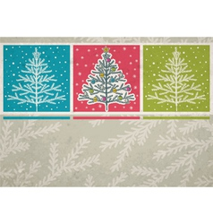 Christmas trees on color background vector