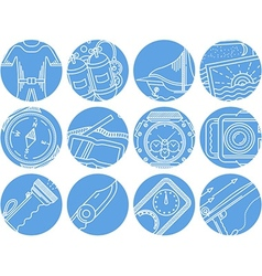 Diving objects blue round icons vector