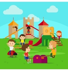 Kids on playground vector