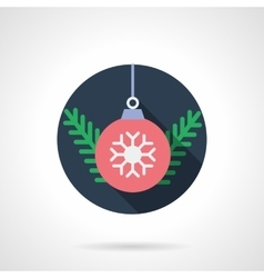 Red xmas ball round flat icon vector