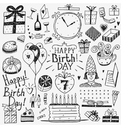 Happy birthday doodles set vector