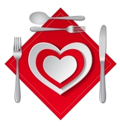 Heart plate isolated vector