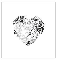 Ornament in the shape of heart vector