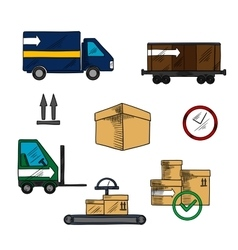 Delivery shipping and logistics icons vector