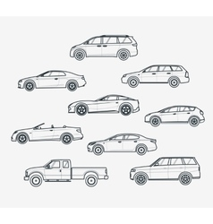 Cars type liner icons vector
