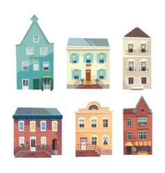 Set of city buildings shops and groceries in a vector