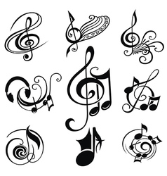 Musical design elements set vector