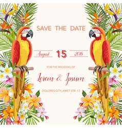Wedding card tropical flowers parrot bird vector