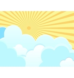 Clouds on blue background with sun rays vector