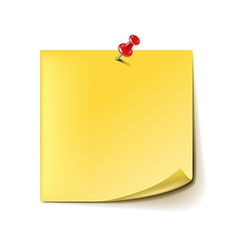 Yellow note with red pin isolated on white vector image