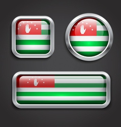 Abkhazia flag glass buttons vector image vector image