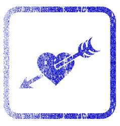 Arrow heart framed textured icon vector