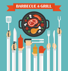barbecue and grill concept design flat with hands vector image vector image