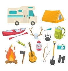 Camping decorative icons set vector