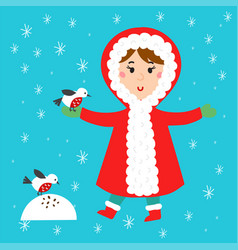 Christmas kid playing winter games children vector