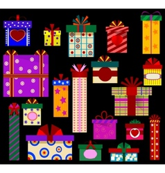 Color gift icons vector image