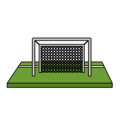 color image cartoon soccer goal in grass vector image