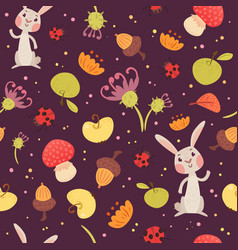 Cute rabbits and plants seamless pattern vector