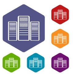 Database servers icons set vector