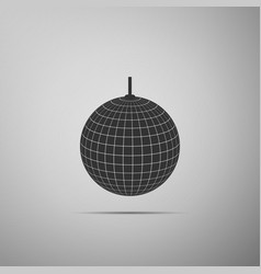 disco ball flat icon on grey background vector image