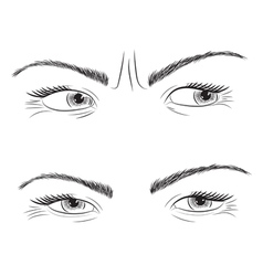 Drawing set woman eyes vector