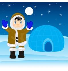 Eskimo beside igloo vector