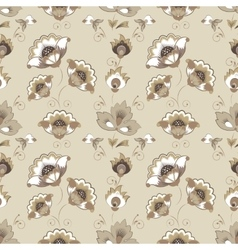 Floral russian pattern in beige color scheme vector