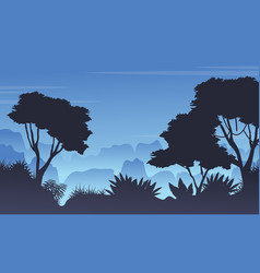 Forest scenery with silhouette style vector