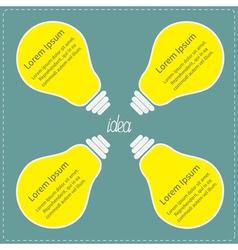 Four big yellow light bulb idea concept business vector