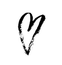 Grunge hand drawn ink heart valentine day dry vector