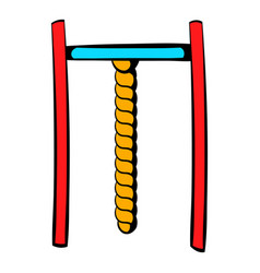 Horizontal bar with rope icon icon cartoon vector