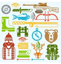 Hunting and fishing icons monochrome vector image vector image