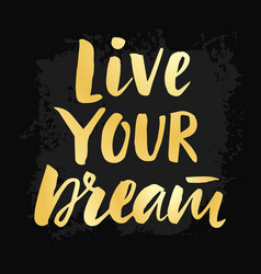 Live your dream poster with hand drawn lettering vector