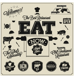 Meat works design elements vector image vector image