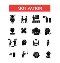 motivation thin line icons linear vector image