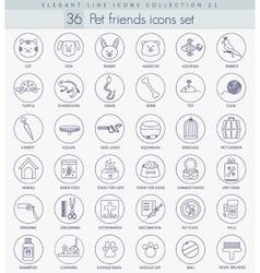 pet friends outline icon set Elegant thin vector image