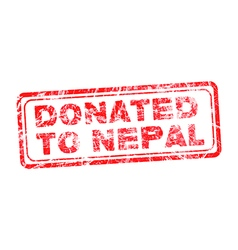 Red grunge rubber stamp with text donated to nepal vector