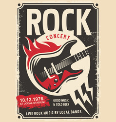 rock music retro poster design vector image vector image