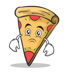 sad face pizza character cartoon vector image