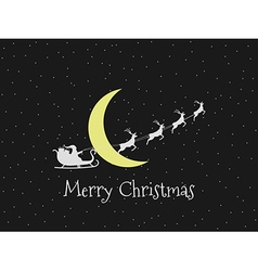 Santa claus in a sleigh on background of the moon vector