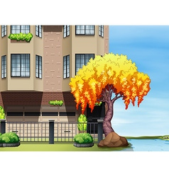 Scene of apartment building by the river vector