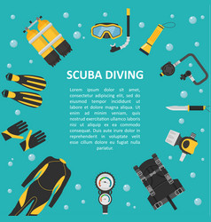 scuba diving background in a flat style vector image vector image