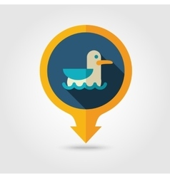 Seagull pin map flat icon summer vacation vector