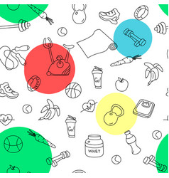 Seamless pattern with isolated fitness doodles vector