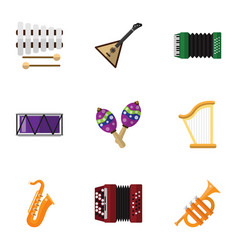 set of 9 editable melody flat icons includes vector image vector image