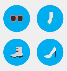 set of simple equipment icons elements heel sock vector image