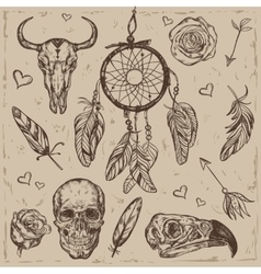 Skull boho tattoo set vector
