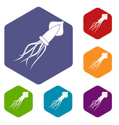 Squid icons set hexagon vector