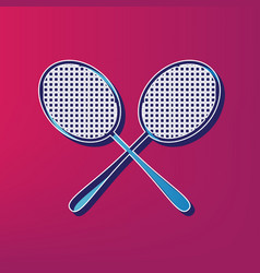 Tennis racquets sign blue 3d printed icon vector
