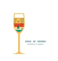 Vibrant ikat stripes wine glass silhouette pattern vector